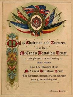 Freind of McCrae's Battalion Certificate
