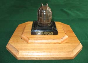 Grenade inkwell golf trophy